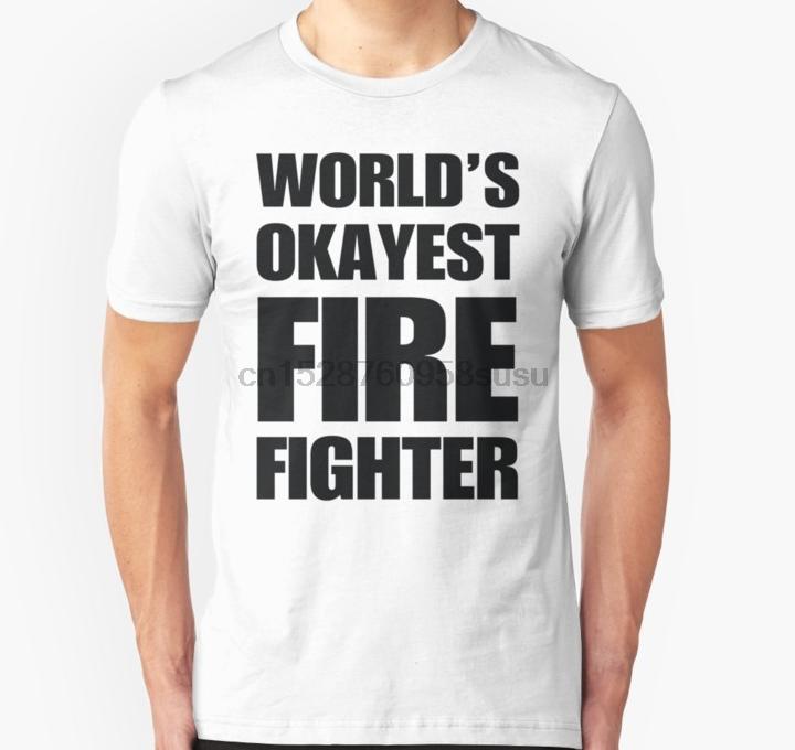 Men tshirt Short sleeve World#39s Okayest Firefighter Gifts For Firefighters Coffee Mug Unisex T Shirt One neck Women t-shirt