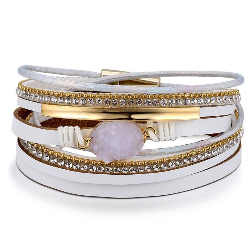 IFMIA Vintage Stone Crystal Charm Bracelets & Bangle For Woman Men New Fashion Female Handmade Multilayer Leather Druzy Bracelet