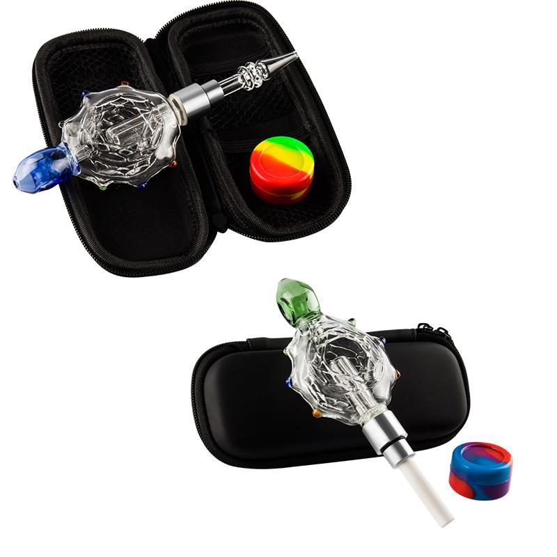 Glass168 NC031 Turtle Estilo Bubbler O Ring 510 afiada Quartz prego Ceramic Dabber cachimbo Bag Set Dab Rig Pipes Bong de Vidro
