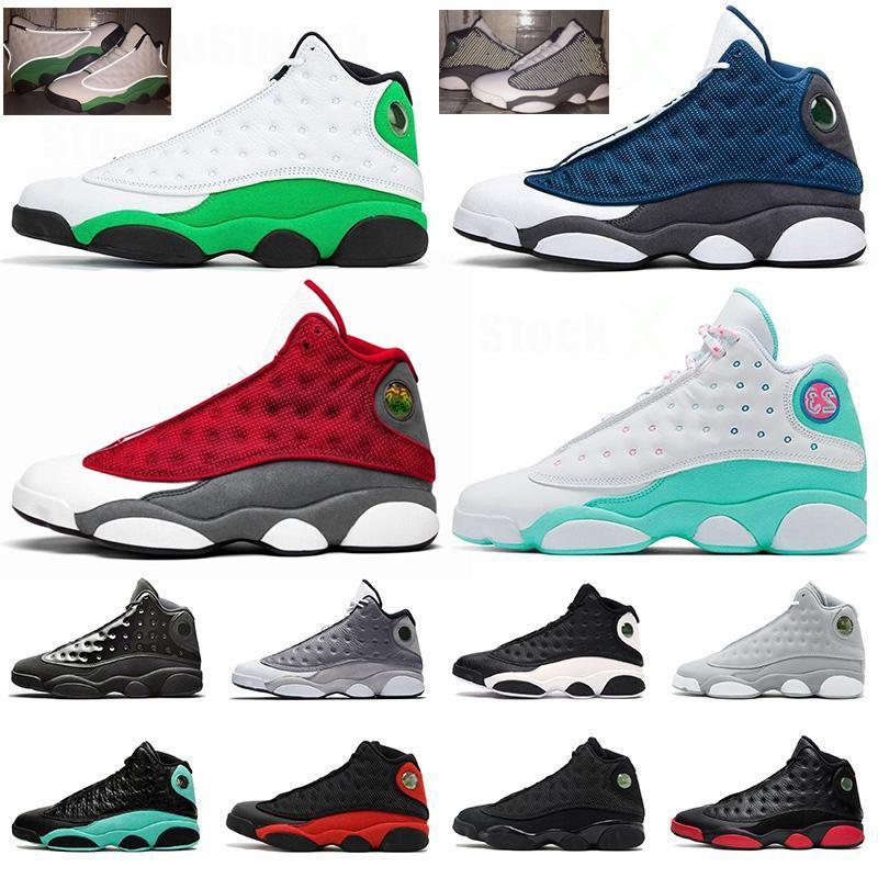 13s Zapatillas de baloncesto kurt gri ada yeşil Şapkanız şanslı yeşil adamlar spor spor ayakkabı eğitmenler 7-13