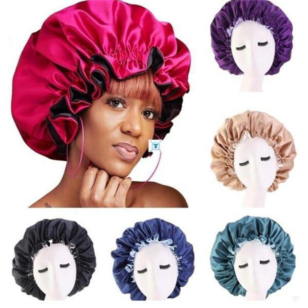 Yeni İpek Gece kap Hat Çift yan aşınma Güzel Saç için Kadınlar Merkez Kapağı Uyku Cap Saten Bonnet - Yukarı Mükemmel Günlük Fabrika Satış uyandırın.