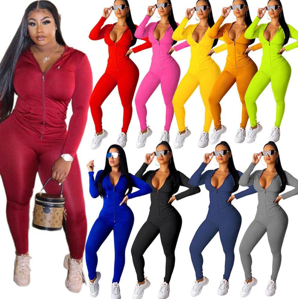 Femmes à capuche de sport Designer Survêtements manches longues Veste Pantalon Legging Deux Piece Set Tenues Set Sports Bodycon S-2XL