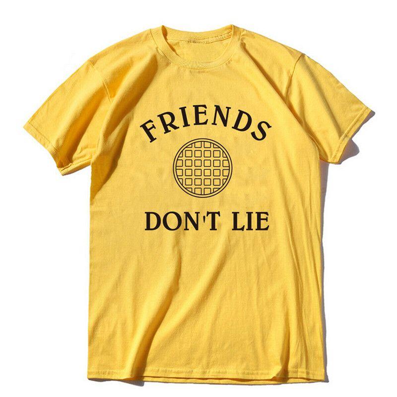 Amis Do not Lie Stranger Things t-shirt Netflix Upside Down T-shirt noir filles de pleine taille thirts