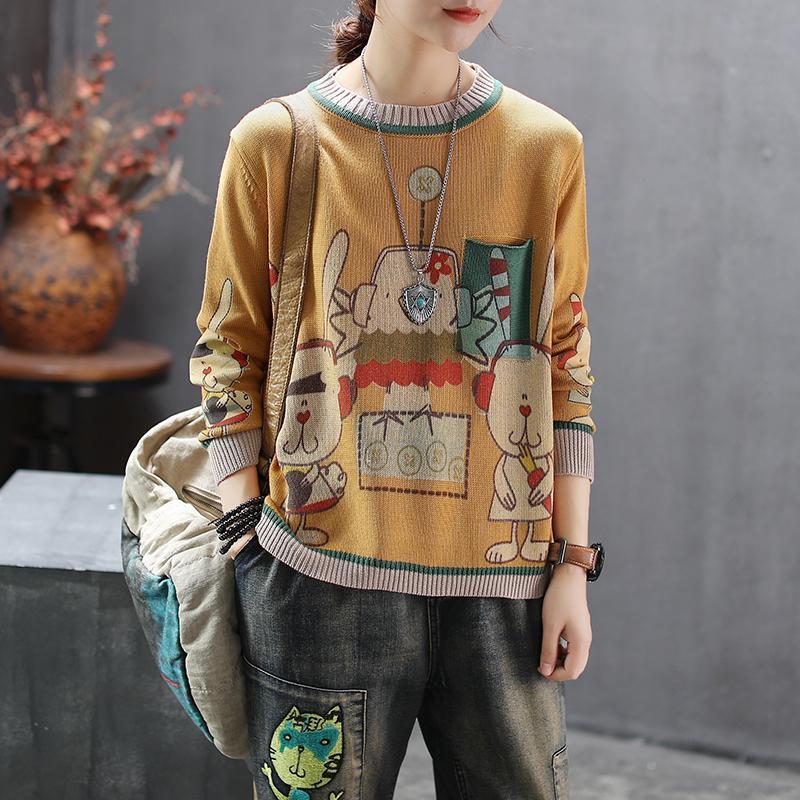 Kadınlar Kadın İlkbahar Sonbahar Moda Marka Kore Stil Vintage Karikatür Tavşan Tavuk Baskı O yaka Örme Kazak Kazak Bezi Y200910