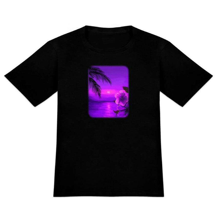 DE novedad playa de la puesta del sol del hibisco hawaiano de la flor púrpura de los hombres camiseta impresa Camiseta