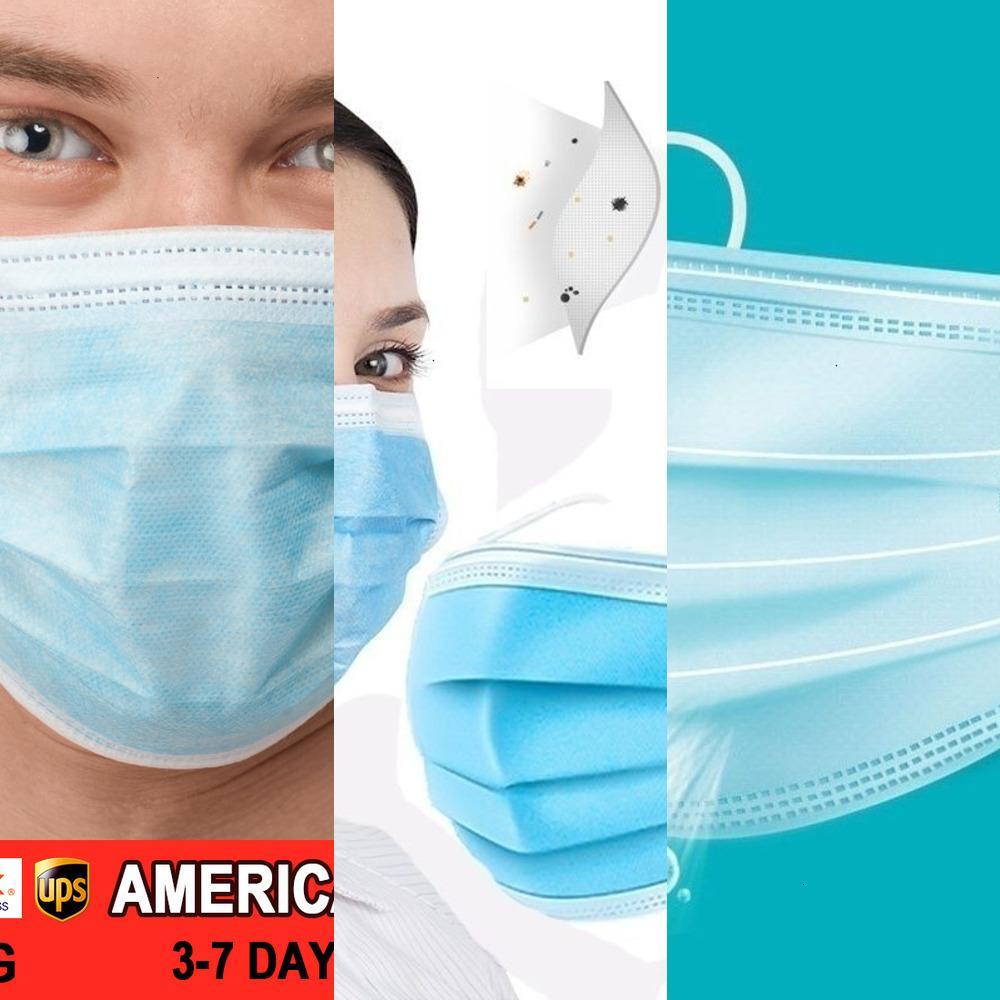 100/50 / 30pcs maschera facciale facciale Descartável Earloop Espessa De 3 Camadas Com Elástico clip, LW4RU viso