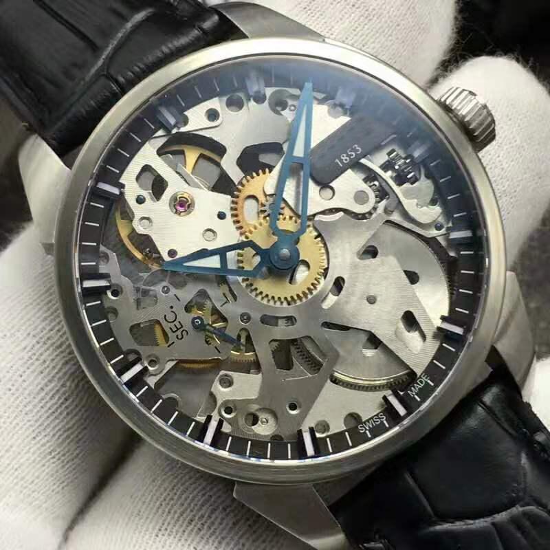 V2 openworked Мужские часы ETA 6497 автоматические механические часы Casual 28800 VPH нержавеющей стали 316L сапфировое стекло кожаный ремешок