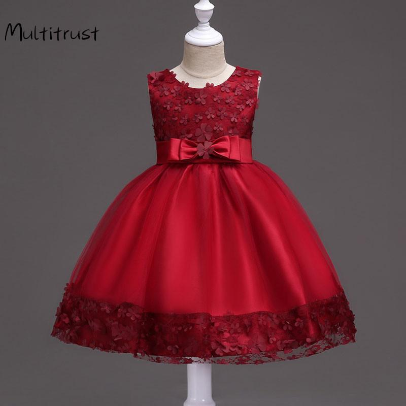 Kız Giydirme Çocuk Giyim Düğün Bow Tie Prenses Kız Dantel Elbise Okulu Dantel Çiçek Abiye Çocuklar Boyut 1T To11 T200908