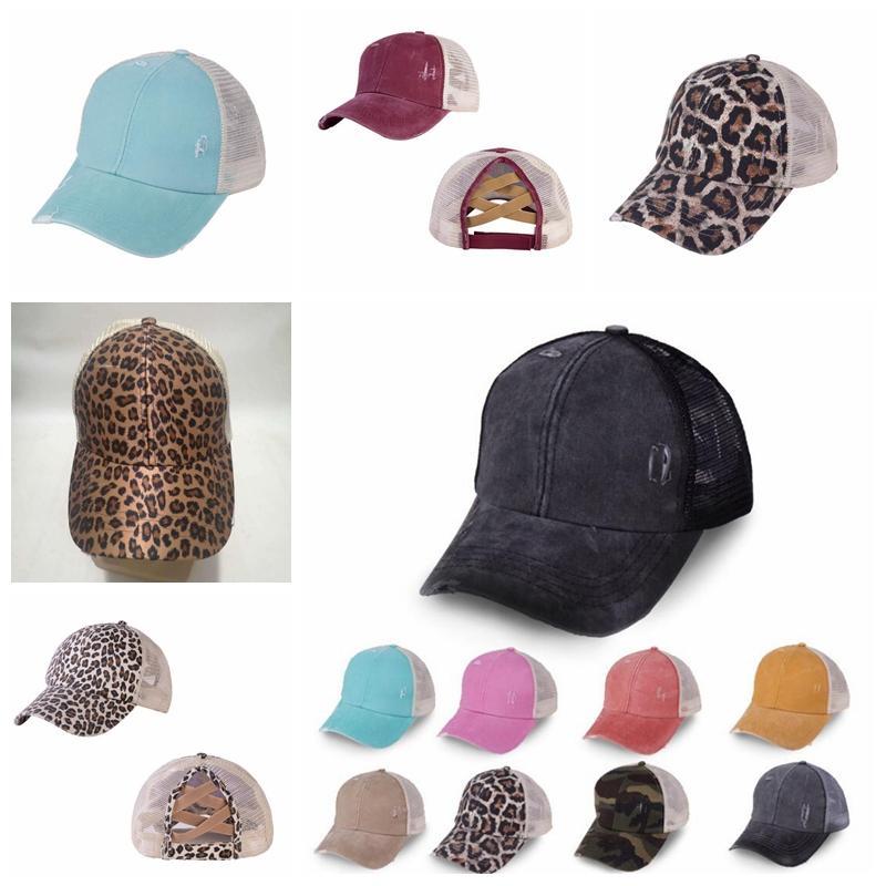12 Styles Ponytail Baseball Cap Leopard Criss Cross coton Casquettes De Camionneur Camo chapeaux lavable couleur unie Ponytail Hat YYA455