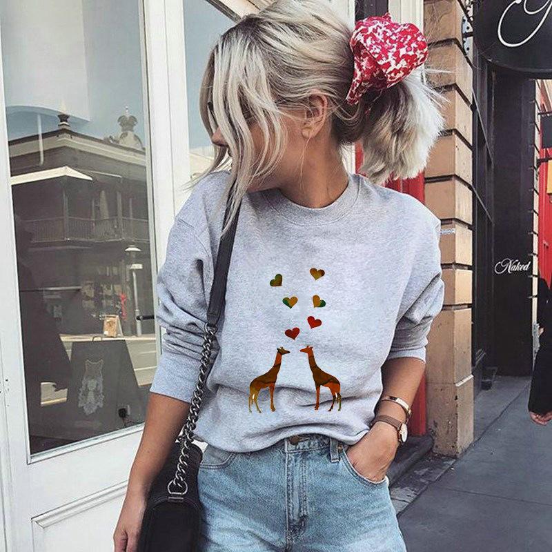 Women Hoodie Giraffe Love Printed Hoodies Women Fleece Long Sleeve O Neck Loose Sweatshirt Girls Pullovers Spring Autumn Winter