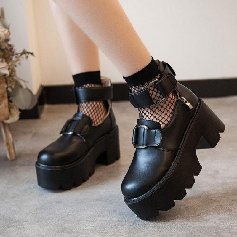 Spring and Autumn platform cake retro round toe shoes Harajuku soft sister heighten single shoes Lolita