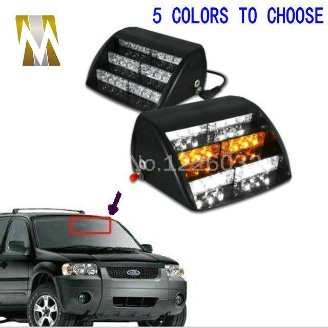 18 LED del vehículo de emergencia luces estroboscópicas parabrisas del tablero de instrumentos del flash rojo de cuidado / Bule / Ámbar / White LED luces Envío gratuito