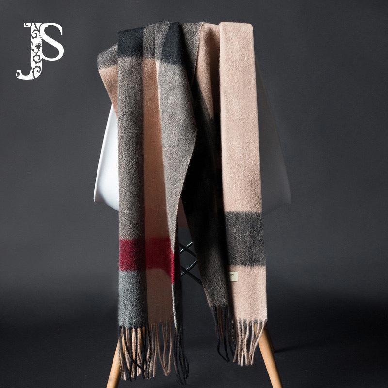 JS Pure 100% cachecol de lã para os homens e de lazer de inverno negócio da manta gravata da senhora e caixa de presente seleção estilo longo com LJ200915 xadrez