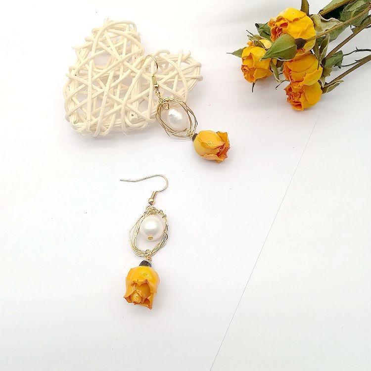 P3FcZ Qingdao joyas de flores flor real eterna rosa amarilla dulce Mori y elegantes pendientes pendientes