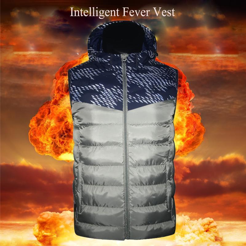 Inverno USB Casais aquecida Vest Jacket térmica Escalada Pesca Esquiar Segurança de fulgor na noite temperatura ajustável desgaste ao ar livre