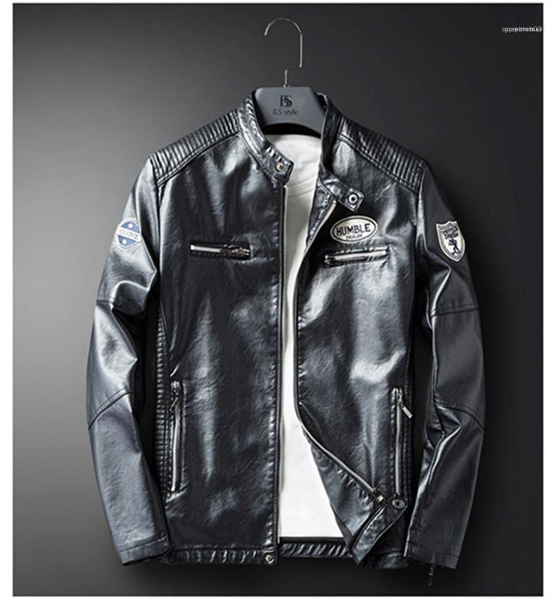 Casual in pelle a maniche lunghe maschile Giacche motociclo dell'unità di elaborazione della molla Slim Stampato Mens Coats Outerwear progettista del Mens