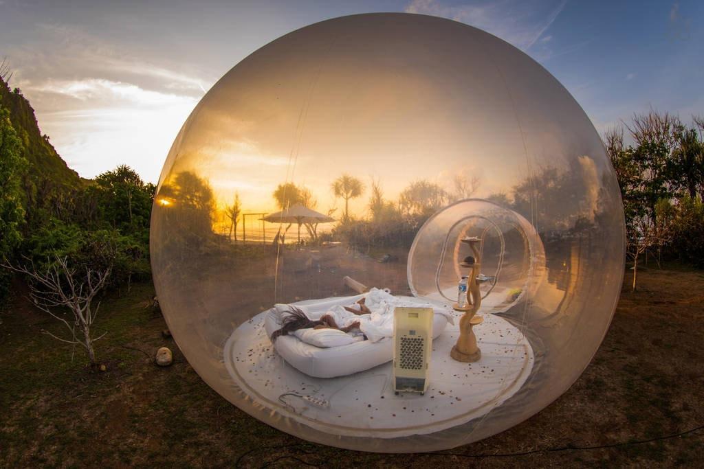 حفلة عيد الميلاد نفخ فقاعة البيت 3M / 4M / 5M ضياء في الهواء الطلق فقاعة خيمة للتخييم PVC فقاعة شجرة خيمة / خيمة كوخ الإسكيمو الساخن مع المنفاخ
