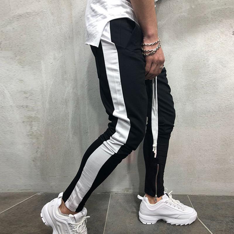 Calça Casual Men Hip Hop Calças justas faixa inferior Sweatpants Streetwear Man Pant Side Stripe Moda Mens Joggers Pants 200925