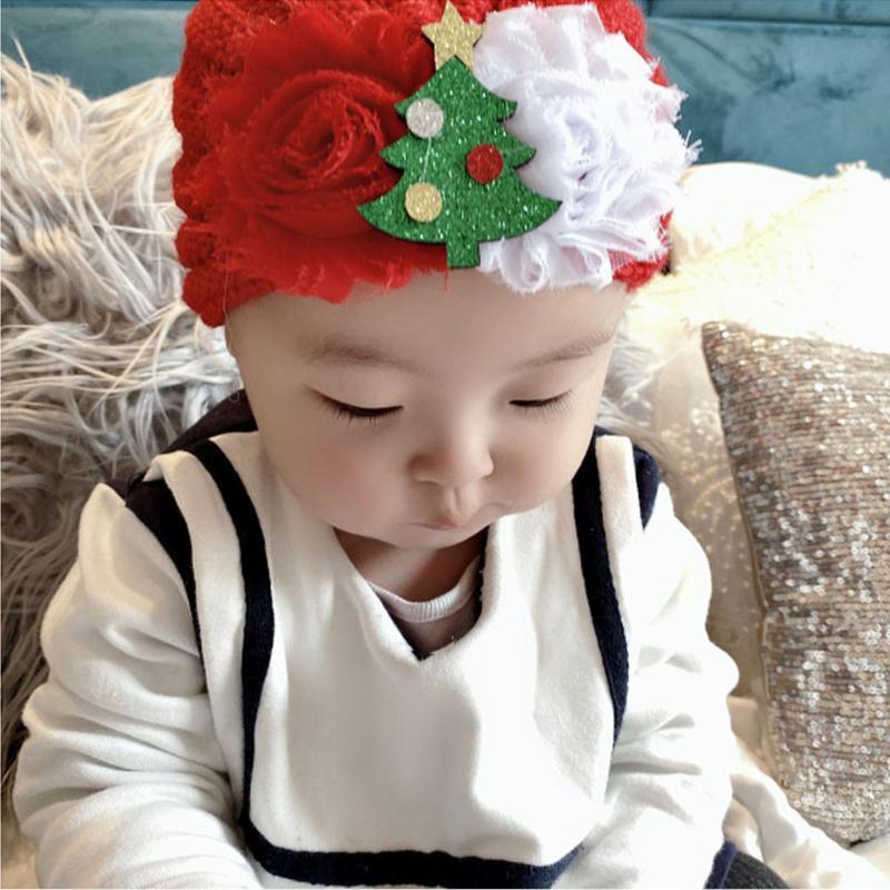 Christmas baby Headwear Xmas Cap Newborn Baby Boy Girl Knitted Bead Hat Christmas Beanie Headwear autumn warm Cap Crochet