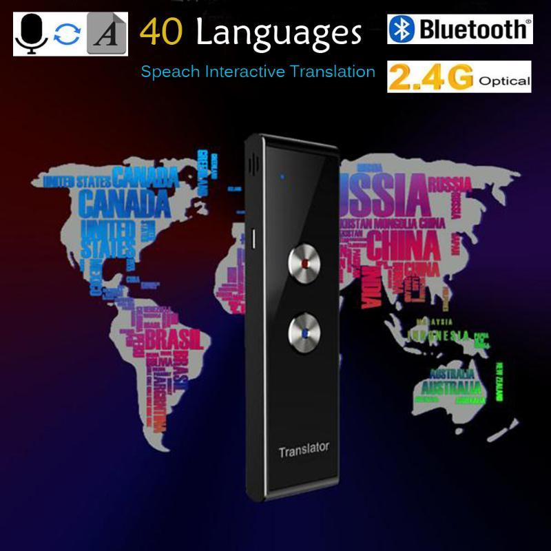 T8 portátil Inteligente Voice Translator instantâneo 40+ Línguas Bluetooth Interpreter Two-Way Tempo real Tradução