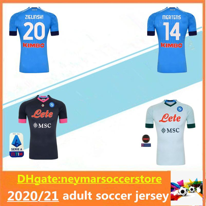 20 21 Napoli Soccer Jersey 2020 2021 Nápoles Koulibaly Camiseta de Fútbol Insigne Milik H.Lozano Mertens Maillot de Football Shirt