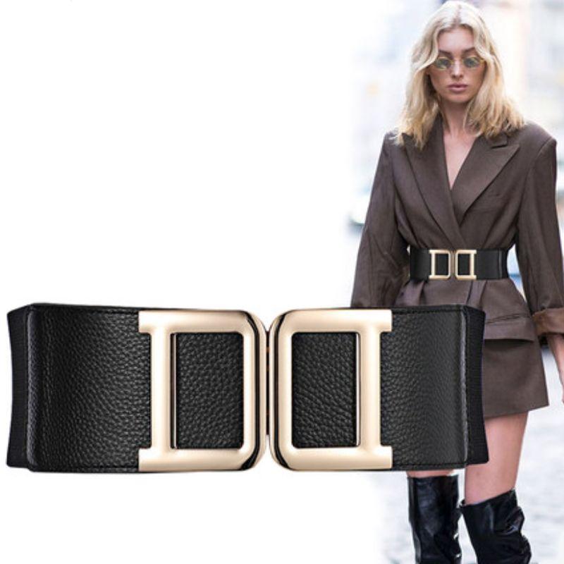 Artı Boyutu Kemer Bayanlar Bel Korse Kemerleri Kadınlar Için Çift D Toka Elastik Geniş Kemerbunds Cinturon Mujer 2020