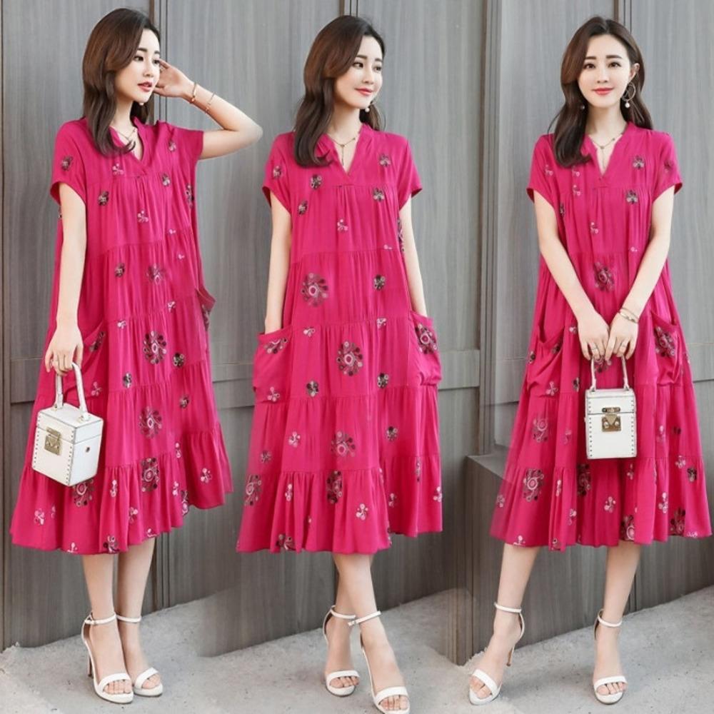 PFeqK распечатаны 2020 Лето Корейского стиля большого размера женщины с коротких рукавами bBSNf длинных юбок платья средней длиной платье новый- линия Женской свободно