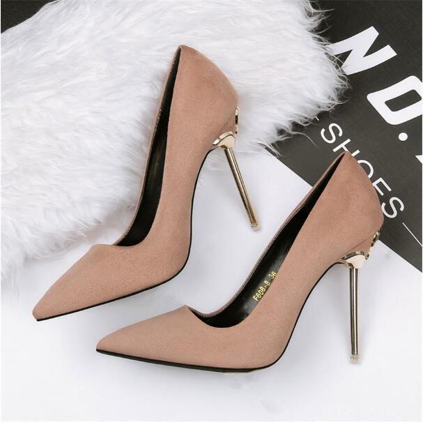 2020 Nuevos tacones altos otoño Flock zapatos de mujer atractiva vestido puntiagudos poco profundo fiesta6 colores conciso OL Oficina señora Shoes