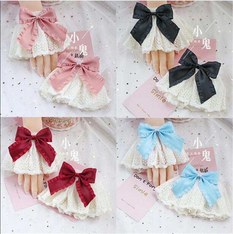 Multicolor vittoriana Sweet Lolita polso della mano Polsini bowknot pizzo domestica Accessori Cosplay per le donne Party Girl Vintage B521