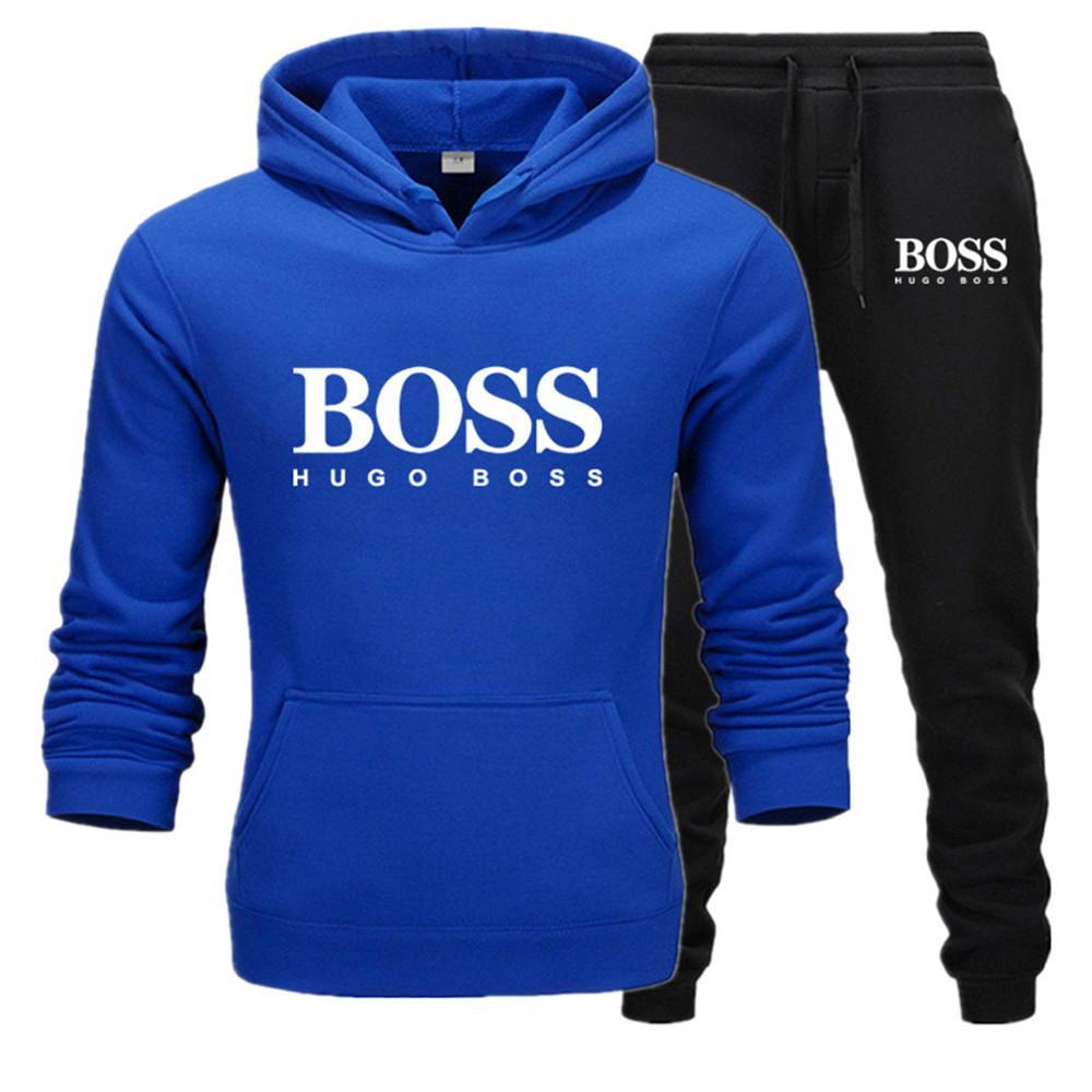 2020 homens casuais vestuário capuz da camisola de algodão Men Fatos Hoodie Two Pieces + calças esportivas Shirts Inverno Pista terno preto