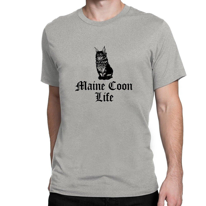 Manga corta de nuevo de la manera camiseta de los hombres Ropa de Maine Coon vida camiseta
