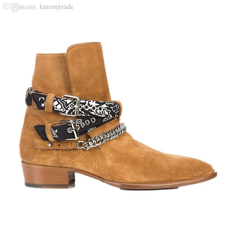 Amiri Man Fashion Show Wyatt Harness botas de vaqueiro Bandana Slp Suede Bandana Strap Buckle Botas Kanye West SLP Shoes