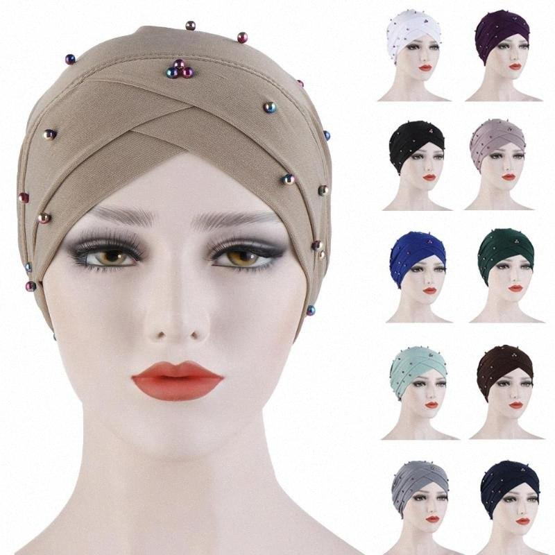 Indien Turbane Moslemische Frauen Chemo Cap Kreuz Perlen Schal-Kopf-Verpackungs Bonnet Krebs Haarausfall Kopftuch Mütze Abdeckung Mode-Hut-Kappen Uteb #