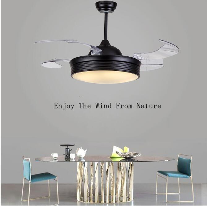 """Ventilateurs électriques 42 """"plafond invisible lames rétractables de ferme industrielle pendentif industriel lampe de ventilateur avec LED modifiable"""