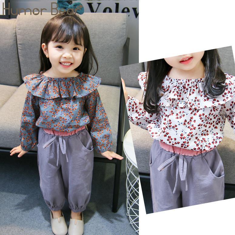 Юмор Медведь весна осень 2019 Baby Girl одежда костюм Корейский Цветочные длинными рукавами + брюки 2pcs Младенец Симпатичные Детская одежда набор
