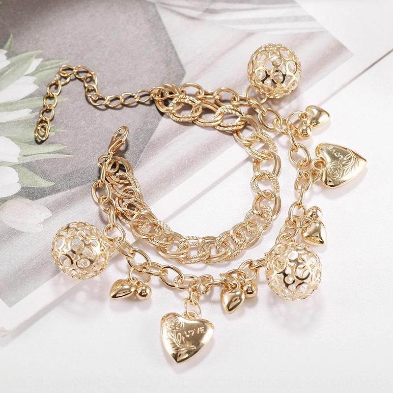 uyVkT Hot-selling simple fashion hollow-out ball love pendant alloy Pendant bracelet bracelet women's accessories