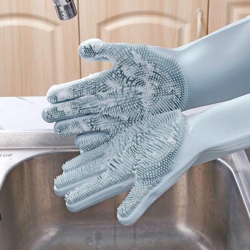 Un par lavaplatos Guantes de limpieza de cocina de silicona magia de silicona se lava del plato para uso doméstico depurador