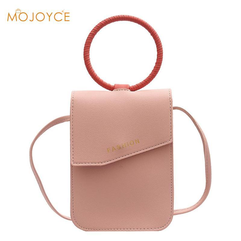 Bag PU Phone Bags PU Cell Shoulder Bags Color Phone Solid Crossbody Leather Convenient Handbag New Women Top-Handle Packs Krdse