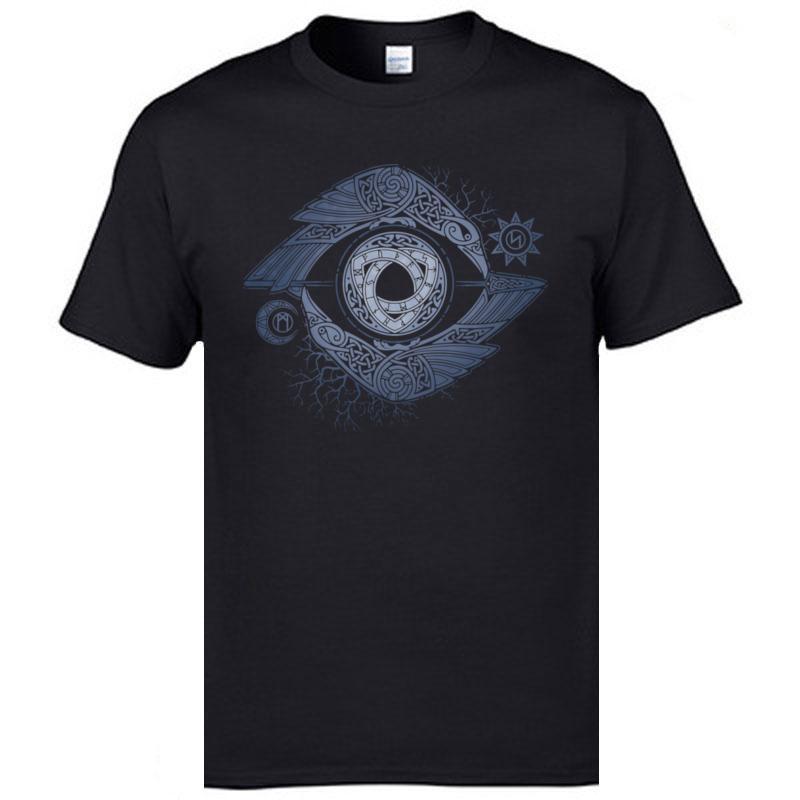 Vkinigs Odin Ojos Top camisetas Ragnar Lothbrok morir en la batalla Ir a Valhalla Europa Camisa del cuello de O Man Camisetas envío de la gota