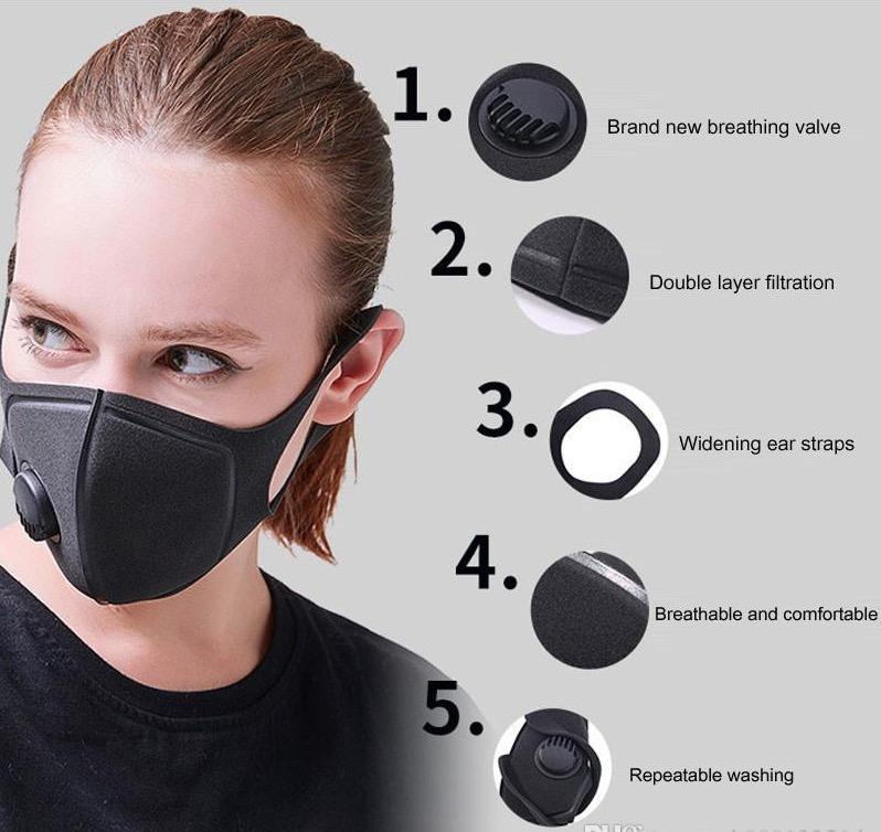 Дизайнер маска с Дыхательными клапанами моющихся многоразовой ткани для взрослых Маски Хлопка Черного Mascarillas Защитной маски для лица