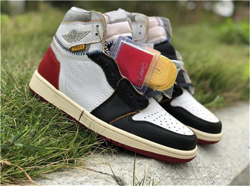 En Yeni Sürüm Otantik Birliği 1 Yüksek OG NRG LA Fırtına Mavi Varsity Kırmızı Beyaz 1S Basketbol Ayakkabı Man Sneakers BV1300-146 ile Orijinal Kutusu x