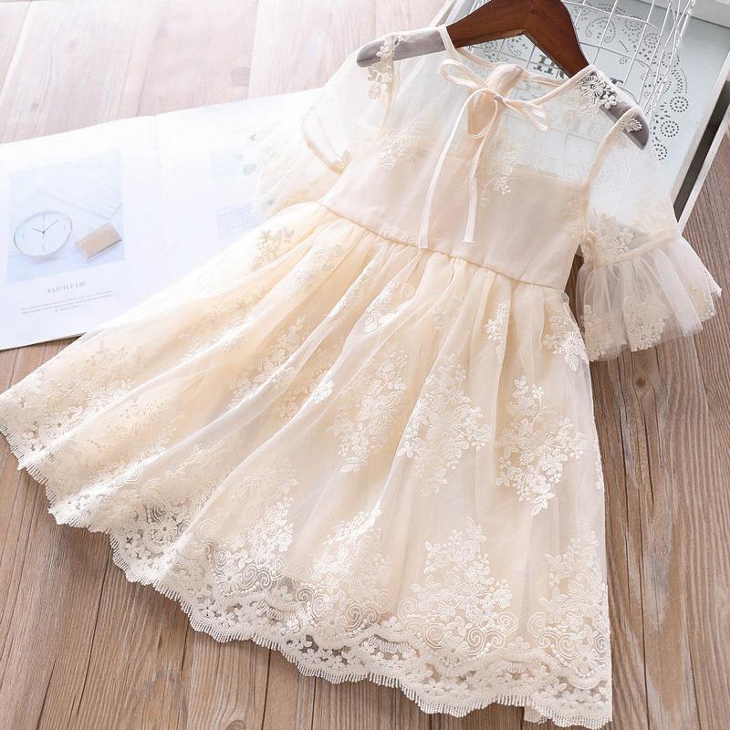 Fille de partie Robes de dentelle élégante Embroidy enfants robe de princesse Bébés filles anniversaire Robes Vestido Robe enfants Vêtements de bébé T200908