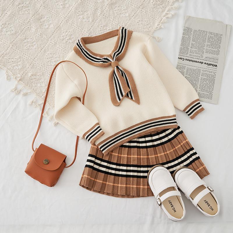 Kids Designer Outfits ragazze Bowknot Sweater + gonna a pieghe 2pcs Abiti 2020 nuovo modo dei bambini principessa autunno Set di abbigliamento S620