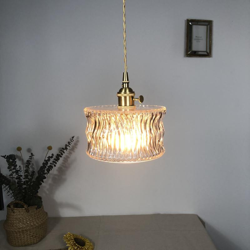 Pingente de vidro Nordic Light luminária de cobre Lâmpada de bronze criativo minimalista E27 Transparente abajur Para Restaurante Luz