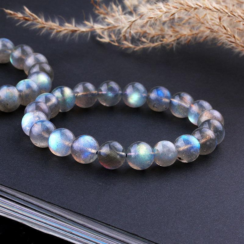 Bracciali Natural labradorite pietra per il regalo delle donne luci blu della pietra preziosa del filo del branello Stretch Charm Bracelet Femme LJ200918