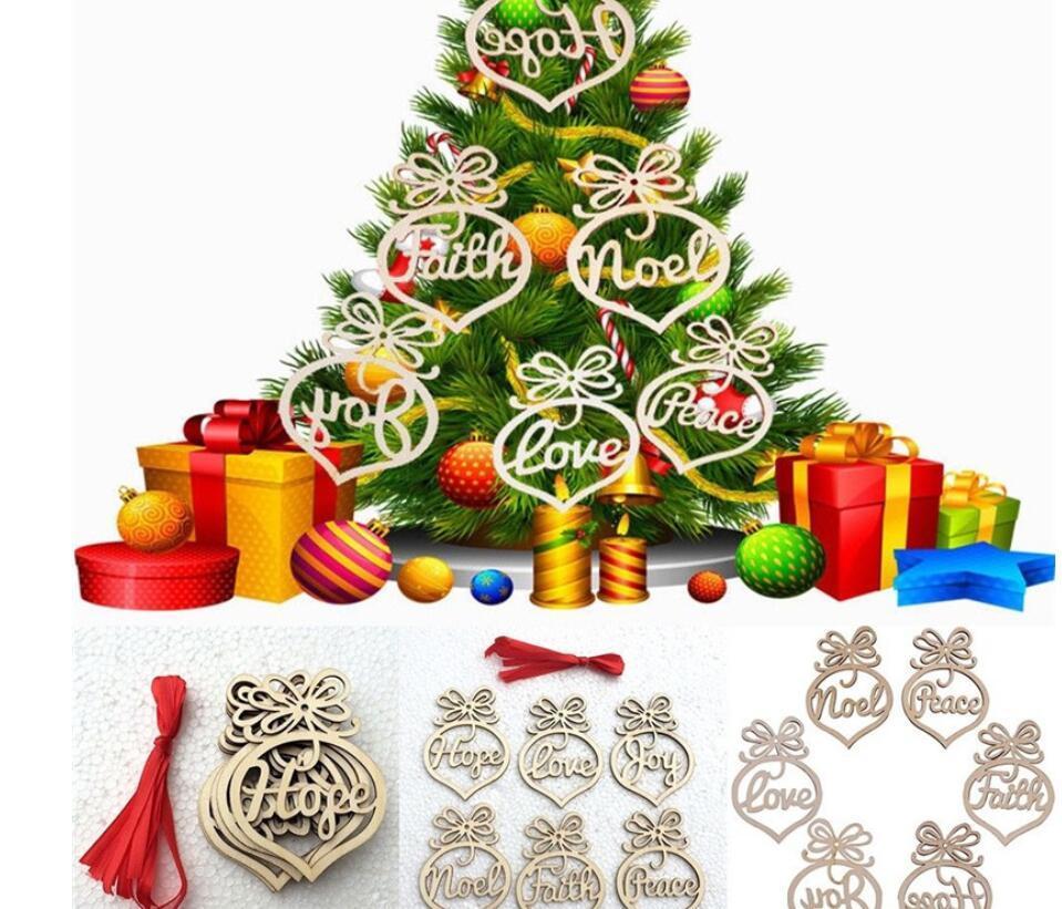 Lettre en bois coeur bulle ornement évidé design pendentif pour la maison d'arbre de Noël Hanging Décorations Creative