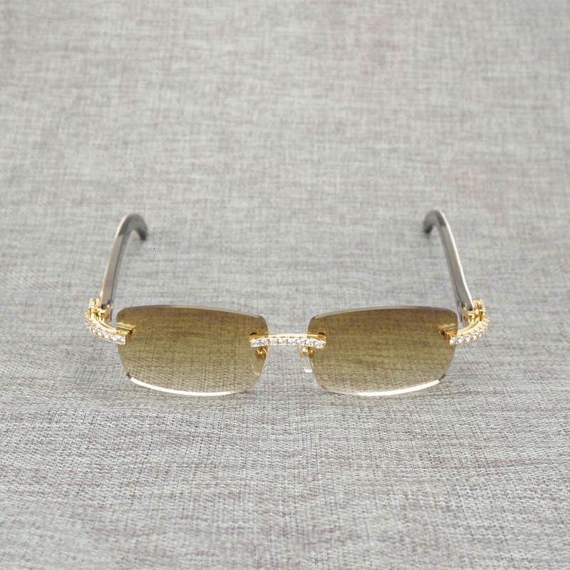 Strass nero White Buffalo Horn Rimless Occhiali da sole Uomini in legno naturale di vetro di Sun Retro Shades Oculos Eyewear per Club Estate