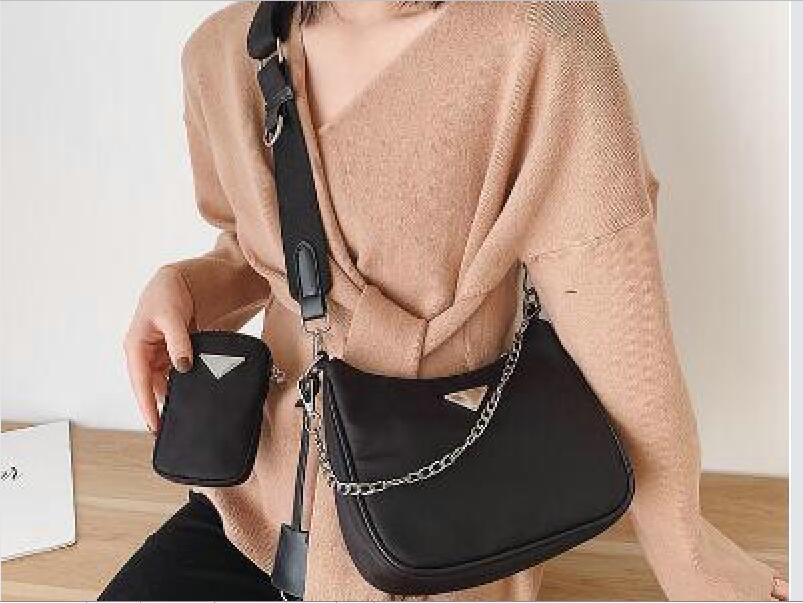 2020 DINR mais novo do vintage Estilo Nylon Mulit saco preto Bolsa Crossbody Shoulder Bag Halt Lua Baguette Hobo Bag