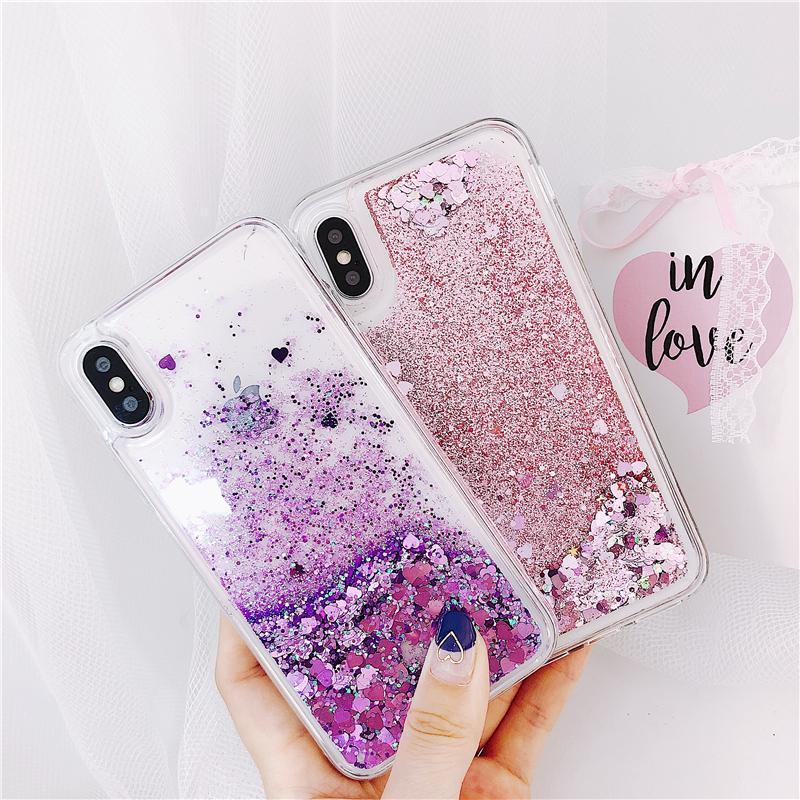 Pour Samsung Galaxy S5 S6 S7 S8 S9 bord S10 plus Note 5 8 9 Quicksand Glitter Cover J4 J6 A7 A9 A6 A8, plus 2018 A40 A50 A70 Case