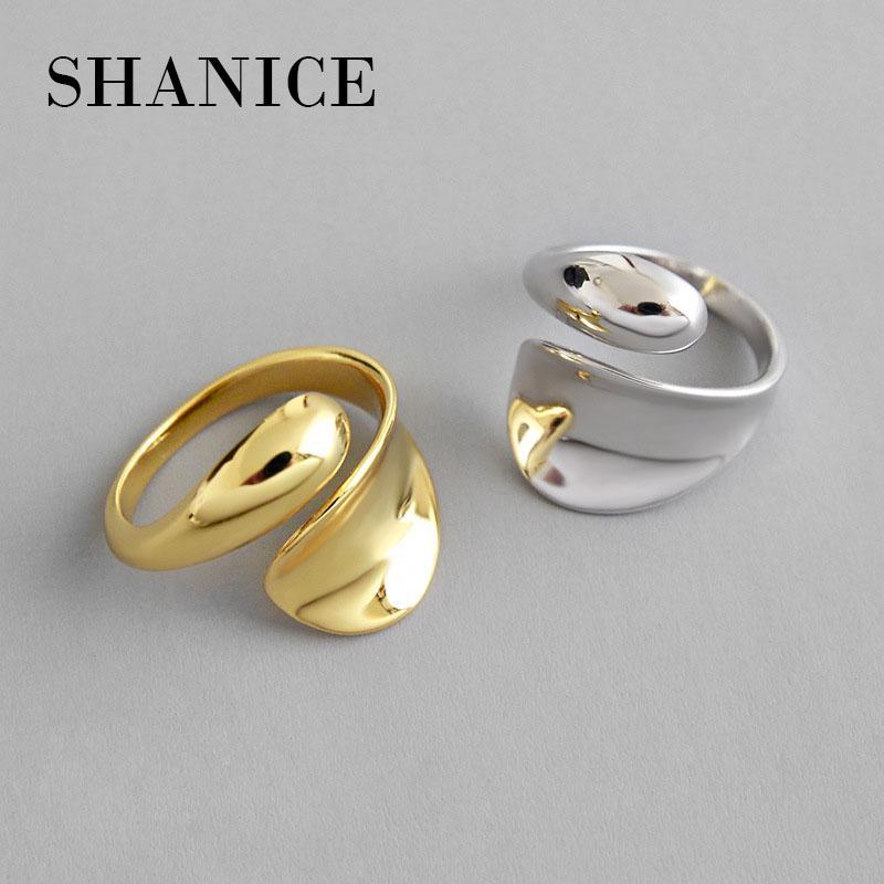 Shanice New chegada 100% real 925 prata esterlina anel aberto para Mulheres Meninas INS simples geométricas Presentes lisos forma de anel da gota